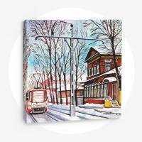 Зимний трамвай, 50х50 см