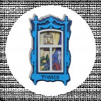 """Магнит """"Деревянное окно"""" синее с котенком"""