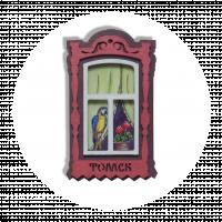 """Магнит """"Деревянное окно"""" красное с попугаем"""